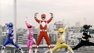 Mighty Morphin Power Rangers - First Morph and Fight (Power Rangers vs Putties and Goldar)