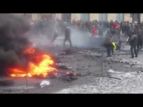Burning Barricades Against Riot Police During Street Fights For Euromaidan In Kiev, Jan 22 2014