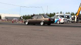 BMW e30 328i m52b28 turbo 1/4 mile @bimmerparty 2015 (13.5s - 188km/h)
