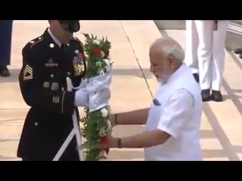 Modi in US: PM Modi lays wreath at the Space Shuttle Columbia Memorial in Washington DC