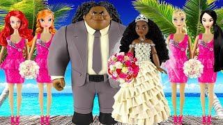 Play doh wedding disney princess Moana Maui Elsa Anna Ariel Mulan princess dress play doh videos