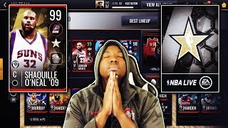 RIPPING OPEN PACKS FOR 99 OVR ALL STAR LEGEND SHAQ IN NBA LIVE MOBILE 19!!!