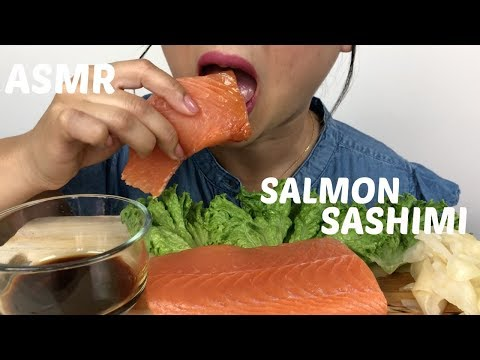 WHOLE SALMON SASHIMI | SAVAGE EATING ASMR Eating Sounds | N.E Lets Eat