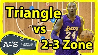 Triangle Basketball Motion Offense vs 2-3 Zone Defense