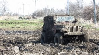 Red 4x4 Jeep Mud Crazy At Carsonville Mud Bog
