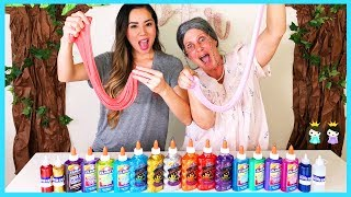 3 Colors of Glue Slime Challenge with Greedy Granny vs Princess ToysReview