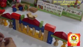 Đồ chơi trẻ em bằng gỗ bộ xếp hình lâu đài