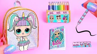 DIY: Miniature LOL Surprise School Supplies ( Backpack, Notebook, Pen, Pencil case) REALLY WORKS