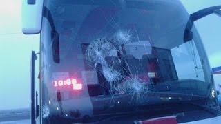 Otobüse Taşlı Saldırıda Yaşanan Korku Dolu Anlar Cep Telefonunda