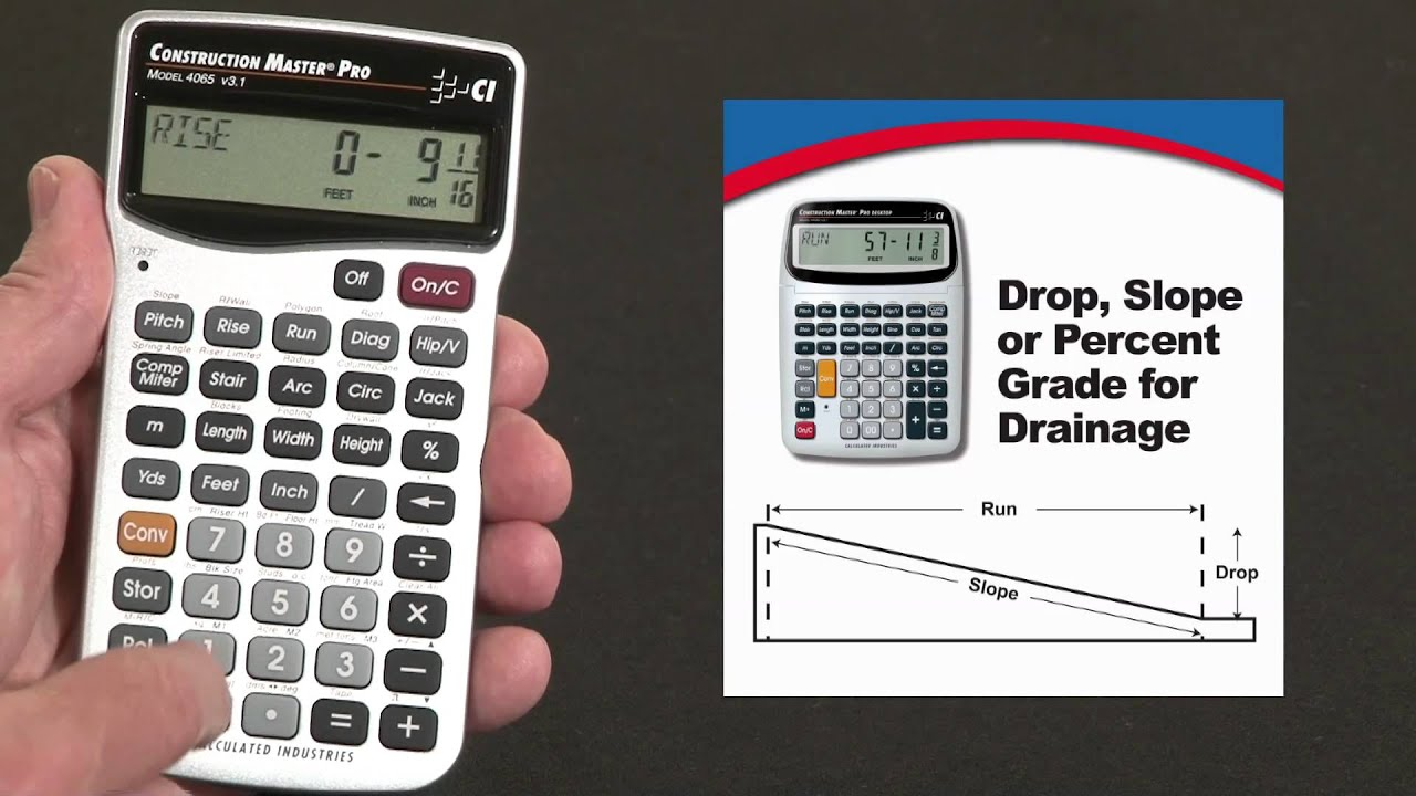 Construction master pro dt drop or slope calculations how for Drainage slope calculator