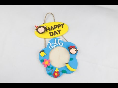 2016 Monkey Year DIY Air Dry Clay Hanger | Hanging Picture Frame