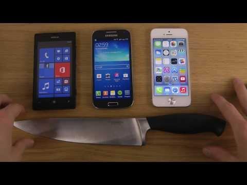 Nokia Lumia 520 vs. Samsung Galaxy S4 Mini vs. iPhone 5 iOS 7 - Knife Screen Test