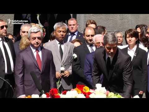 Clooney Lays Flowers At Armenian Memorial In Yerevan