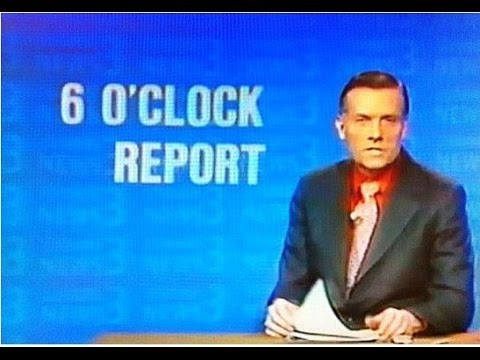 "Dick Bertel anchors the ""6 o'Clock Report"" on March 1, 1974 for Channel 3, WTIC-TV, in Hartford, Connecticut. Ken Garee provides the weather report and Georg..."