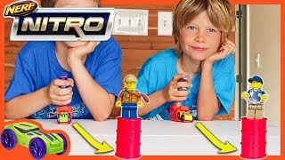 NERF NiTRO CARS Vs  LEGO MiNiFiGURES