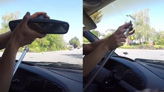 3rd Time Attaching Rearview Mirror-- Glue attached to windshield Using 5-minute Eproxy