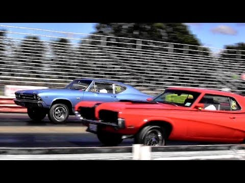 428 Cobra Jet Cougar Eliminator vs Chevelle SS396 - 1/4 mile Drag Race Video - Road Test TV