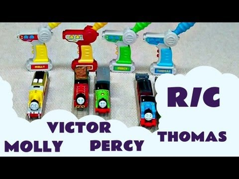 4 Trackmaster Remote Control Thomas And Friends Trains Victor Percy Molly Kids Toy Train Set