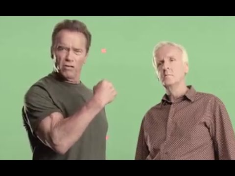 "Arnold Schwarzenegger and James Cameron filming PSAs calling for ""less meat, less heat"""