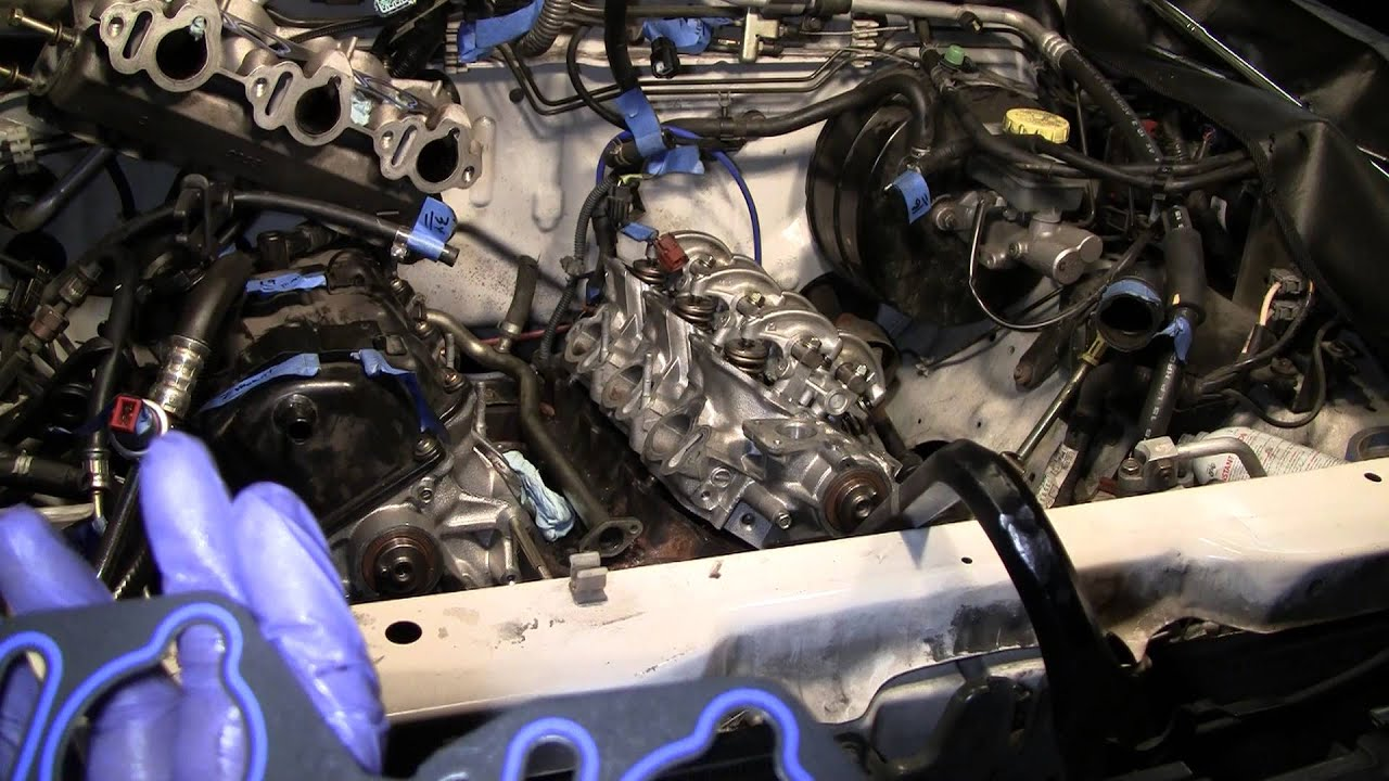 2002 nissan xterra vg33e rebuild step by step part 76 damage head gasket removed youtube
