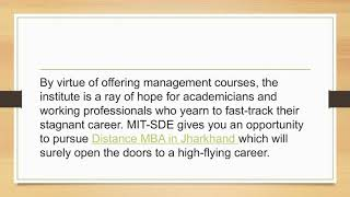Distance MBA   Jharkhand - MIT School of Distance Education