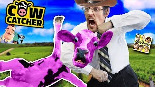 FLYING PINK COW CATCHER!  HILARIOUS AWKWARD & FRUSTRATING GLITCHY GAME! FGTEEV Loses All Money!