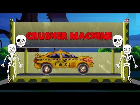 Menakutkan Taksi | Dump pekarangan | Crusher Machine | Scary Vehicles | Learn Transport | Scary Taxi
