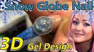 3D Snow Globe Nail Art Tutorial - Christmas Alternative to Aquarium Nails - Glittering Winter Design