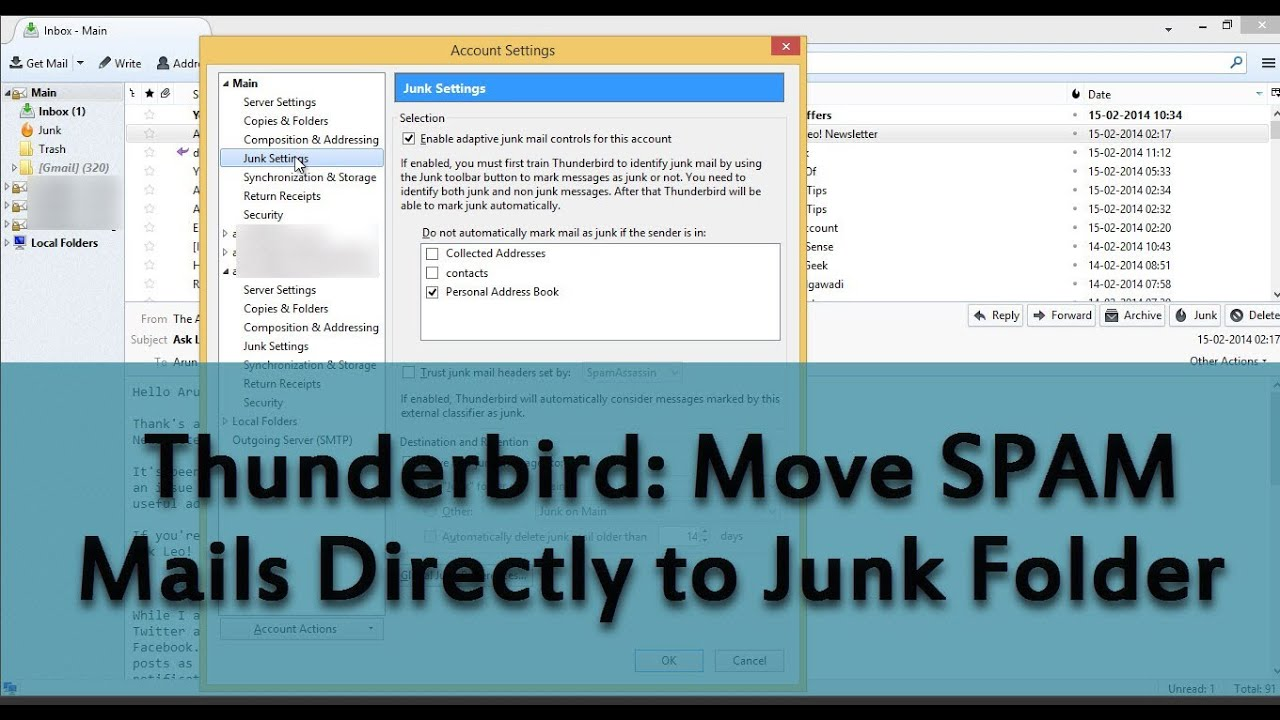 how to stop junk email in thunderbird