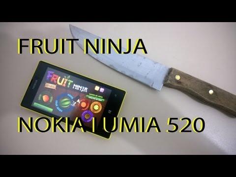 Jogando Fruit Ninja Com Uma Faca No Lumia 520