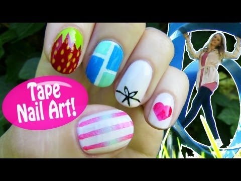 Tape Nail Art! 5 Nail Art Designs & Ideas Using A Scotch Tape! video