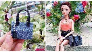 DIY Miniature Doll Handbag / Cách làm túi xách cho búp bê (mẫu mới) Ami DIY