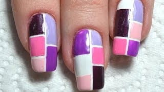 Purple Color Block Nail Art Tutorial / Blocking Nails