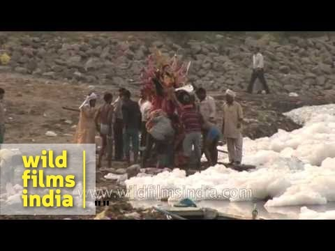 Dirty polluted Yamuna river provides water to New Delhi Indias...