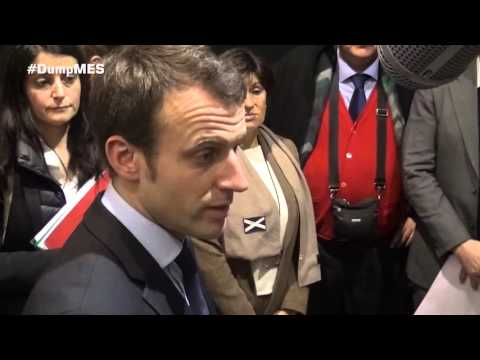 French Minister Emmanuel Macron responds to the #DumpMES action
