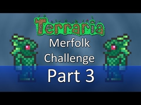 Terraria: Merfolk Challenge — Part 3 — Swiming In A Mine!