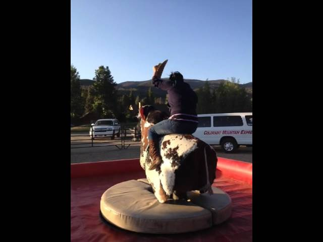 Erica riding the bull