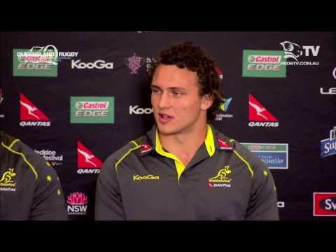 Queensland Reds backrower Jake Schatz chats to media in Wallabies camp