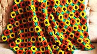 How to crochet afghan blanket with flowers free pattern tutorial
