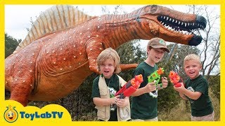 Giant Dinosaurs at Dinosaur World with Macy & Make-A-Wish! Raptor Chases Park Rangers with Nerf Toys