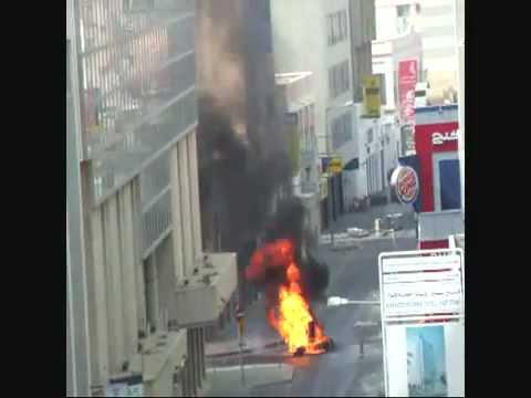 Shia In Bahrain Burning Fire.flv