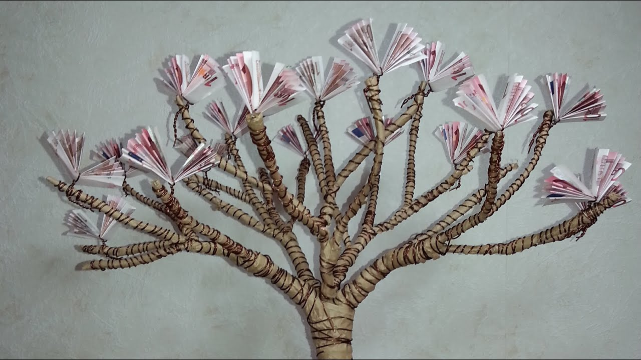 DIY Gift Of Money Blossoming Cherry Tree Geldgeschenke Basteln Bluhender Kirschbaum