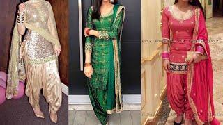 Party wear Punjabi suit designs ideas/heavy Embroided patiala suit designs ideas