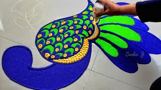 Very easy peacock rangoli for lakshmi pada