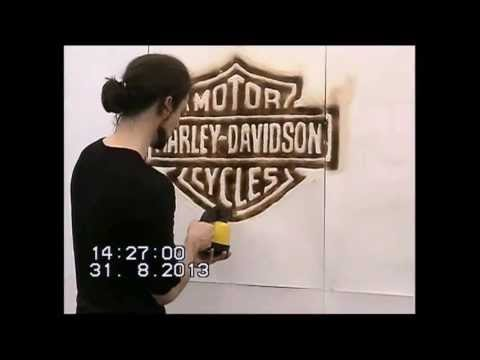 Flame painting during opening of Harley-Davidson store in Linz Austria.