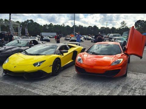 Lamborghini Aventador LP720-4 Roadster vs McLaren MP4-12C Drag Racing 1/4 Mile - StreetCarDrags