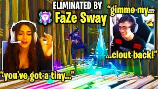 FaZe SWAY *GETS REVENGE* on #1 GIRL PRO in ZONE WARS! (Fortnite)