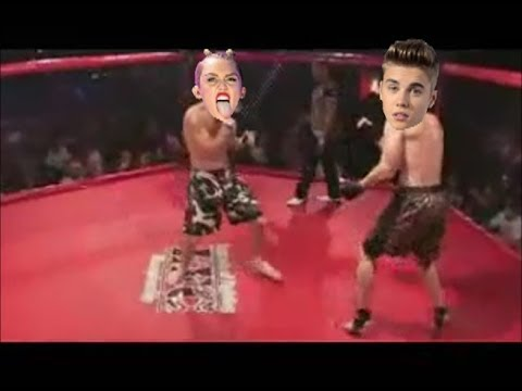 Miley Cyrus Fights Justin Bieber! Double KO! Funny!