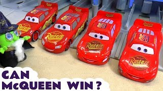 Cars Lightning McQueen 8 Lane Racing with PJ Masks and funny Funlings Wizard Funling TT4U