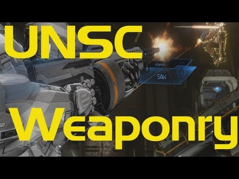 Halo 4 - Complete UNSC Weaponry - SAW & RAILGUN GAMEPLAY!